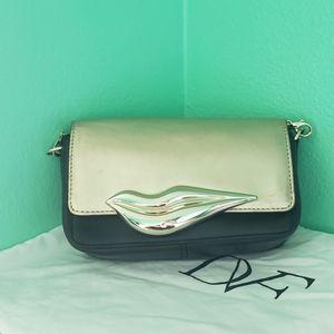 DVF guinine leather black and gold crossbody bag